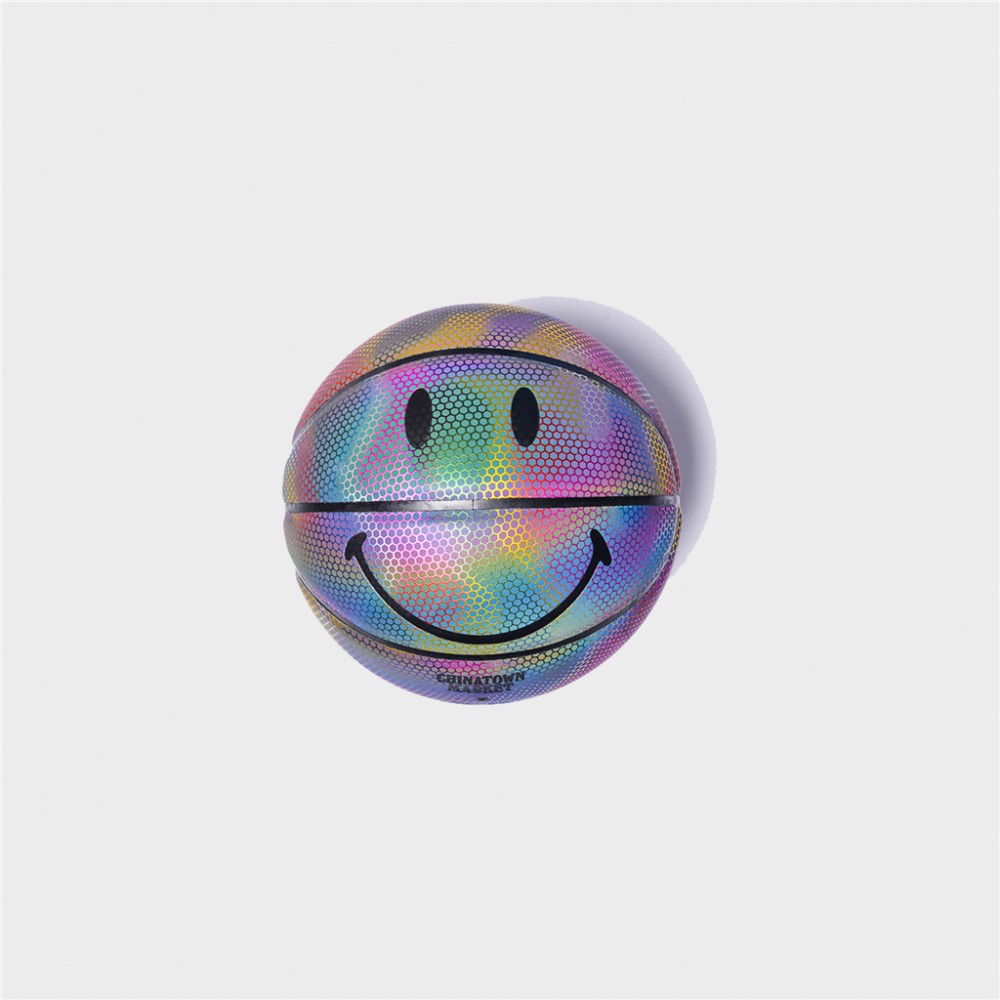 rainbow reflective smiley b-ball